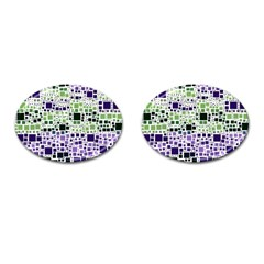 Block On Block, Purple Cufflinks (oval)