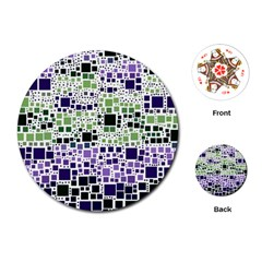 Block On Block, Purple Playing Cards (Round)