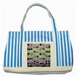 Block On Block, Purple Striped Blue Tote Bag Front