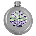 Block On Block, Purple Round Hip Flask (5 oz) Front