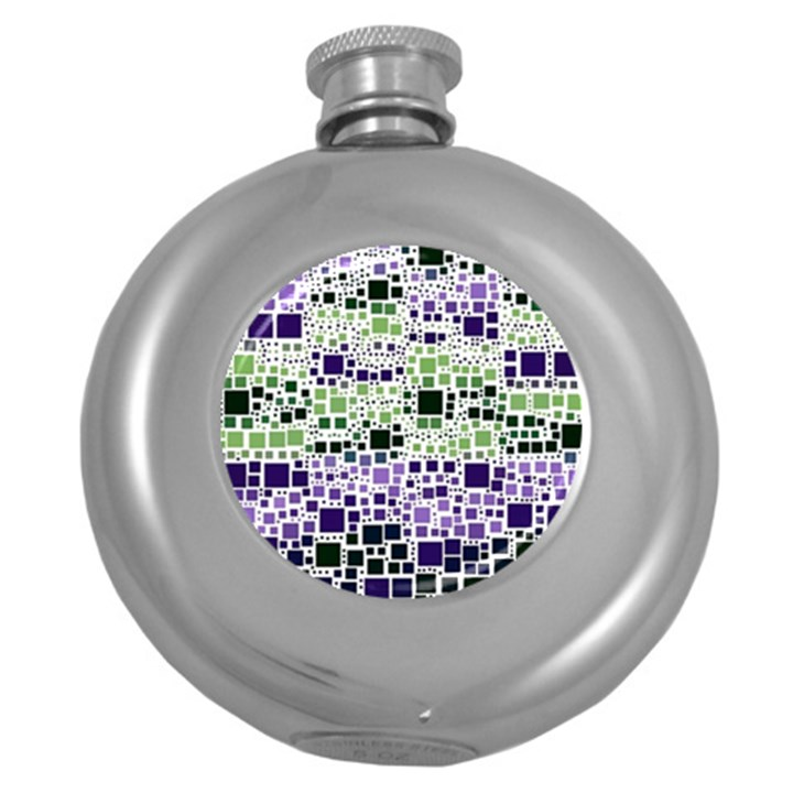 Block On Block, Purple Round Hip Flask (5 oz)