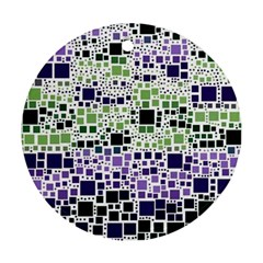 Block On Block, Purple Round Ornament (Two Sides)