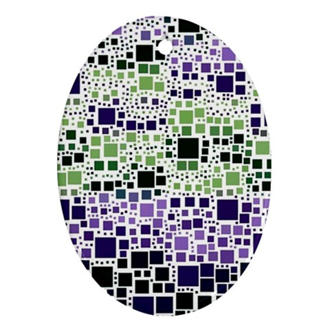 Block On Block, Purple Oval Ornament (Two Sides)