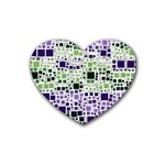 Block On Block, Purple Rubber Coaster (Heart)  Front