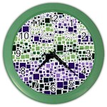 Block On Block, Purple Color Wall Clocks Front