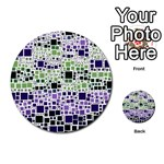 Block On Block, Purple Multi-purpose Cards (Round)  Back 24
