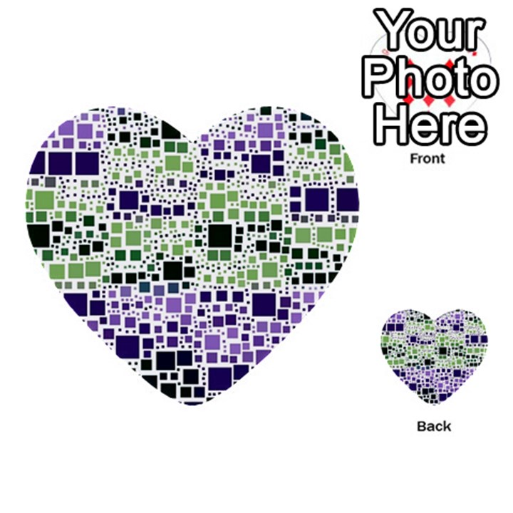 Block On Block, Purple Multi-purpose Cards (Heart)