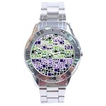 Block On Block, Purple Stainless Steel Analogue Watch Front