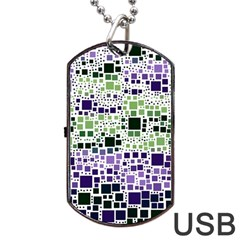 Block On Block, Purple Dog Tag Usb Flash (one Side)