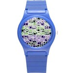 Block On Block, Purple Round Plastic Sport Watch (S) Front