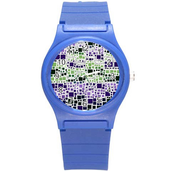 Block On Block, Purple Round Plastic Sport Watch (S)