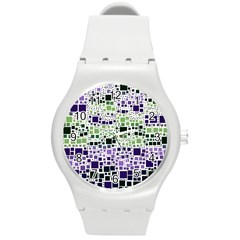 Block On Block, Purple Round Plastic Sport Watch (M)