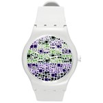 Block On Block, Purple Round Plastic Sport Watch (M) Front