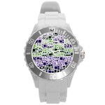 Block On Block, Purple Round Plastic Sport Watch (L) Front