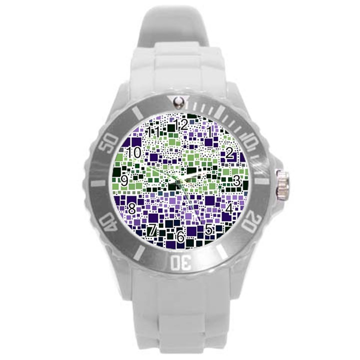 Block On Block, Purple Round Plastic Sport Watch (L)