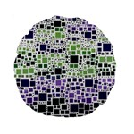 Block On Block, Purple Standard 15  Premium Round Cushions Back