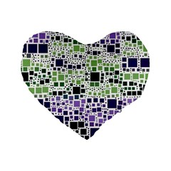 Block On Block, Purple Standard 16  Premium Heart Shape Cushions