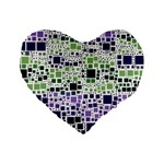Block On Block, Purple Standard 16  Premium Heart Shape Cushions Front