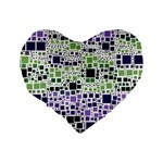Block On Block, Purple Standard 16  Premium Heart Shape Cushions Back