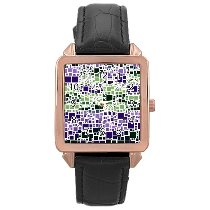 Block On Block, Purple Rose Gold Leather Watch