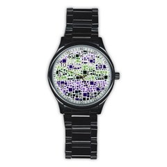 Block On Block, Purple Stainless Steel Round Watch