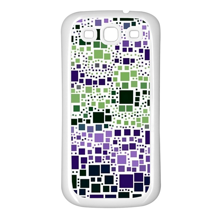 Block On Block, Purple Samsung Galaxy S3 Back Case (White)