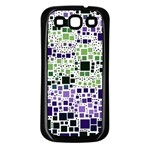 Block On Block, Purple Samsung Galaxy S3 Back Case (Black) Front