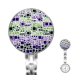 Block On Block, Purple Stainless Steel Nurses Watch
