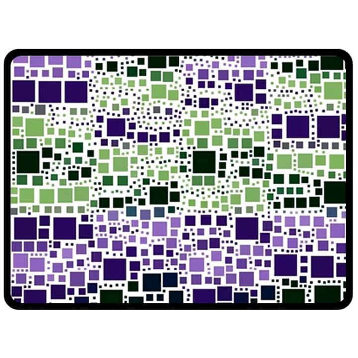 Block On Block, Purple Double Sided Fleece Blanket (Large)