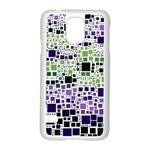 Block On Block, Purple Samsung Galaxy S5 Case (White) Front