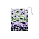 Block On Block, Purple Drawstring Pouches (Small)  Front