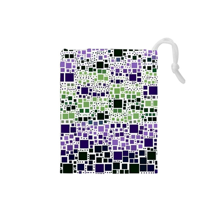 Block On Block, Purple Drawstring Pouches (Small)