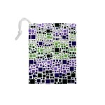 Block On Block, Purple Drawstring Pouches (Small)  Back