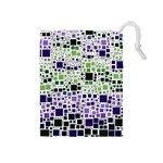 Block On Block, Purple Drawstring Pouches (Medium)  Front