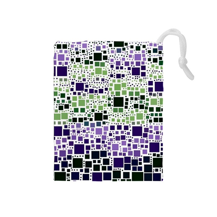Block On Block, Purple Drawstring Pouches (Medium)