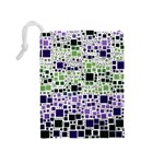 Block On Block, Purple Drawstring Pouches (Medium)  Back