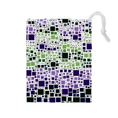 Block On Block, Purple Drawstring Pouches (large)