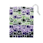 Block On Block, Purple Drawstring Pouches (Large)  Front