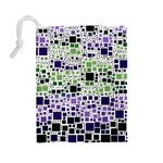 Block On Block, Purple Drawstring Pouches (Large)  Back
