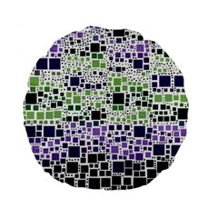 Block On Block, Purple Standard 15  Premium Flano Round Cushions