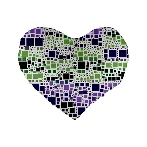 Block On Block, Purple Standard 16  Premium Flano Heart Shape Cushions