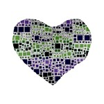 Block On Block, Purple Standard 16  Premium Flano Heart Shape Cushions Front
