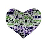 Block On Block, Purple Standard 16  Premium Flano Heart Shape Cushions Back