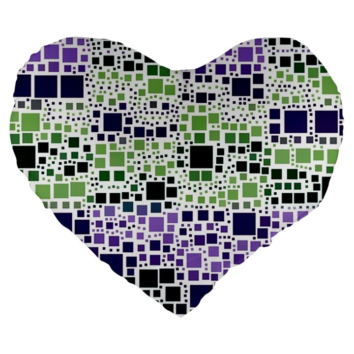 Block On Block, Purple Large 19  Premium Flano Heart Shape Cushions