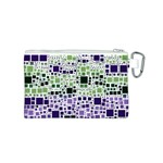 Block On Block, Purple Canvas Cosmetic Bag (S) Back