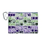 Block On Block, Purple Canvas Cosmetic Bag (M) Front