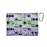 Block On Block, Purple Canvas Cosmetic Bag (M) Back