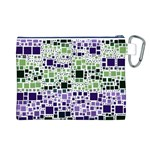 Block On Block, Purple Canvas Cosmetic Bag (L) Back