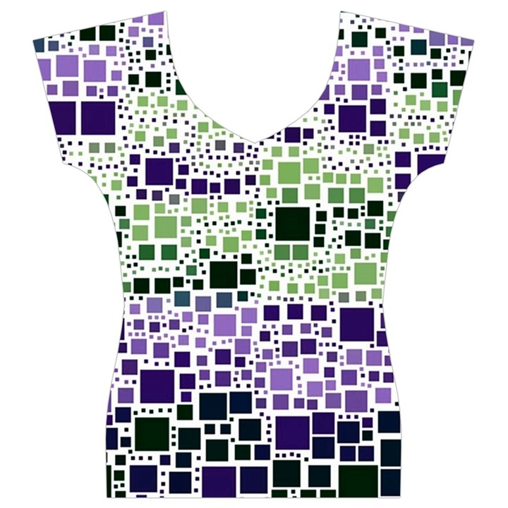 Block On Block, Purple Women s V-Neck Cap Sleeve Top