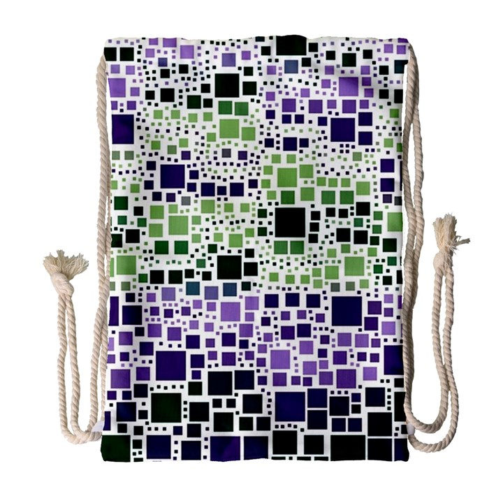 Block On Block, Purple Drawstring Bag (Large)